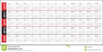 Kalender 2016 Bis 2018 Calendrier 2016 2017 2018 2019 2020 Illustration De
