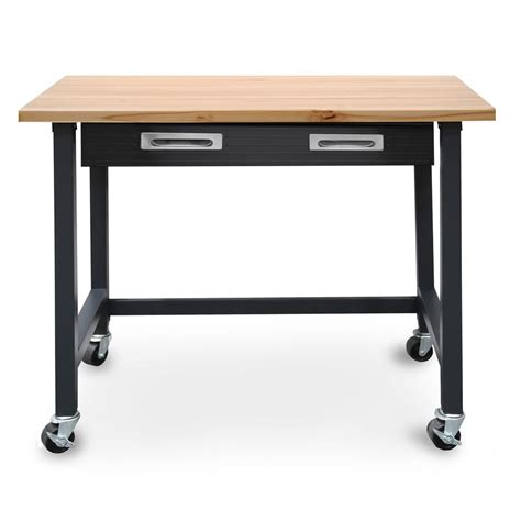 mobile work bench seville classics 4 ft wood top workbench on wheels with