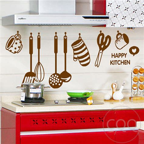 Wall Sticker Transparan Kitchen Tools Ay6017 kitchen cookware wall sticker home decor diy adhesive mural picture poster removable vinyl