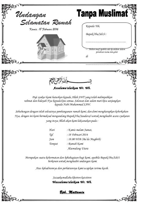 membuat undangan sendiri di rumah undangan selametan rumah