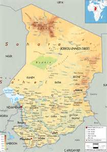 Chad Africa Map by Physical Map Of Chad Ezilon Maps