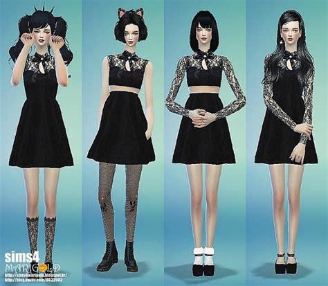 Dress Ribbon 4 sims 4 ribbon lace black dress