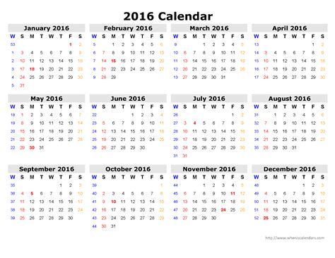 Calendar Templates 2016 Blank Printable Calendar 2016 Yearly Calendar Template