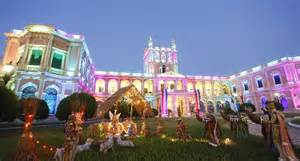 lopez presidential palace lighted for christmas in