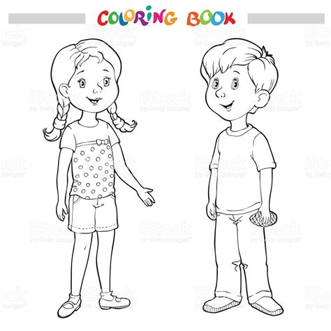 coloring page of boy and girl coloring book or page boy and girl stock vector art more