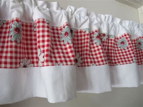 red check daisy valance mid century authentic fabric