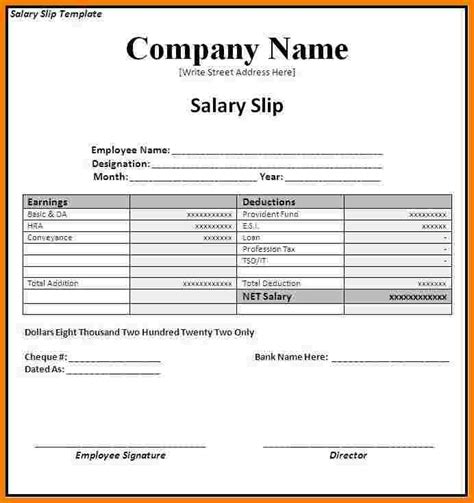 Payment Slip Template Excel by 6 Salary Payment Voucher Template Sales Slip Template