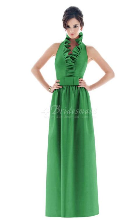 100 floors clover a line scalloped satin floor length clover bridesmaid