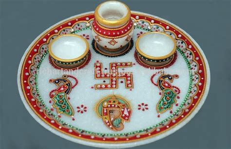 Diwali Home Decoration Items by Indian Marble Pooja Thali Plate Handicraft Religious Gift