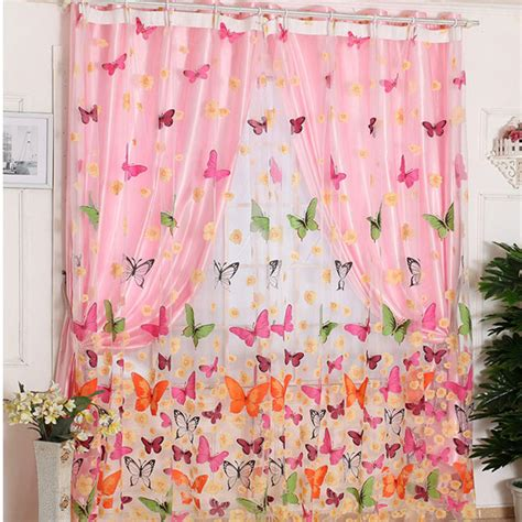 selling curtains hot selling 200cm x 100 cm butterfly print sheer window