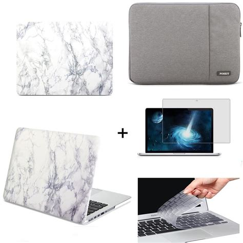 For Macbook Air 13 Inch A 1466 A 1369 Matte rubberized white marble pattern cover sleeve for