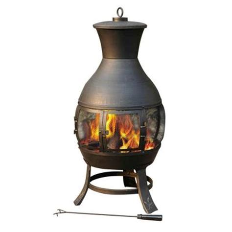 sunjoy steel chiminea l cm082pst 1 the home depot