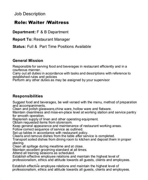 adorable resume waitress responsibilities in waitress duties