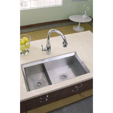 Stainless Undermount Kitchen Sinks Shop Kohler Poise 16 Basin Undermount Stainless Steel Kitchen Sink At Lowes