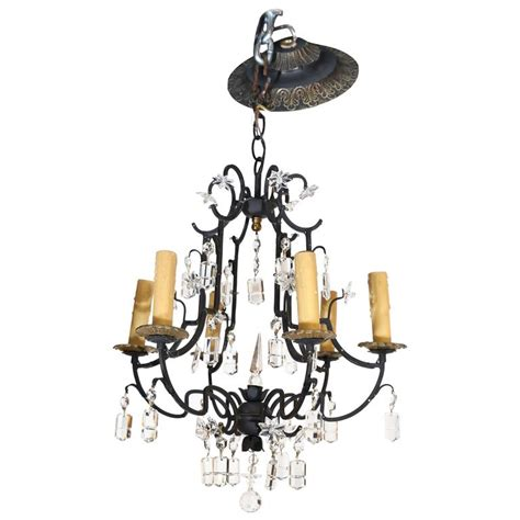 Small Six Light Wrought Iron And Crystal Chandelier For Small Wrought Iron Chandeliers