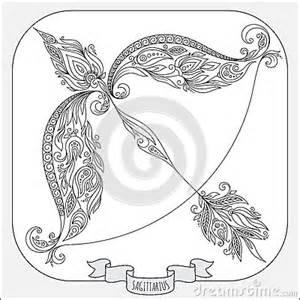 hand drawn pattern coloring book zodiac sagittarius stock illustration image 63399045