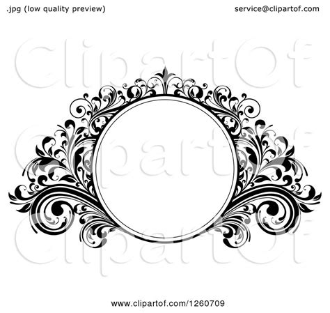 clipart of a black and white ornate round frame with