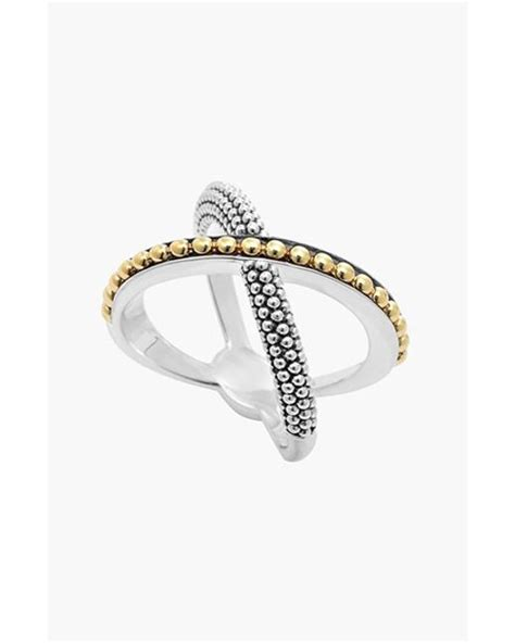 lagos enso caviar crossover ring in silver silver gold