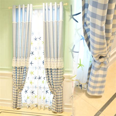 Blue Plaid Curtains Pastoral Style Linen Jacquard Blue Plaid Country Curtains For Room