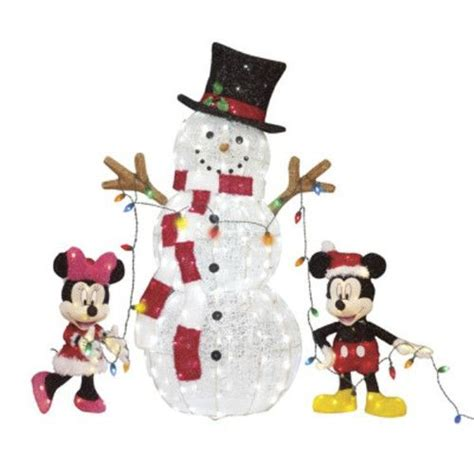 mickey minnie with snowman outdoor decoration lighted disney mickey mouse minnie snowman prop yard decoration yard decorations