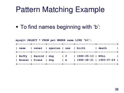 sql pattern matching numbers 介绍 mysql