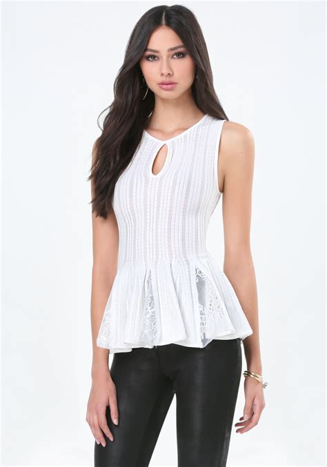 Ziggy Peplum Top lyst bebe lace peplum top in white