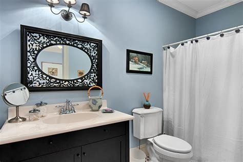 black white blue bathroom photo page hgtv