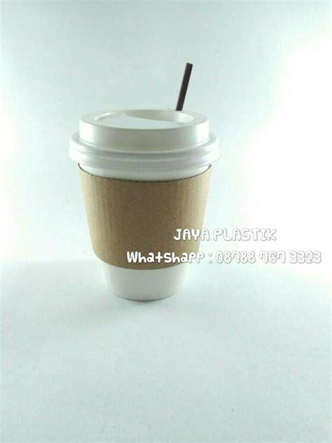 Paper Cup Kopi 8 Oz Cup Lid Hitam Stirer Termurah jual paper cup kopi polos tutup sedotan pipih stirrer jaya plastik
