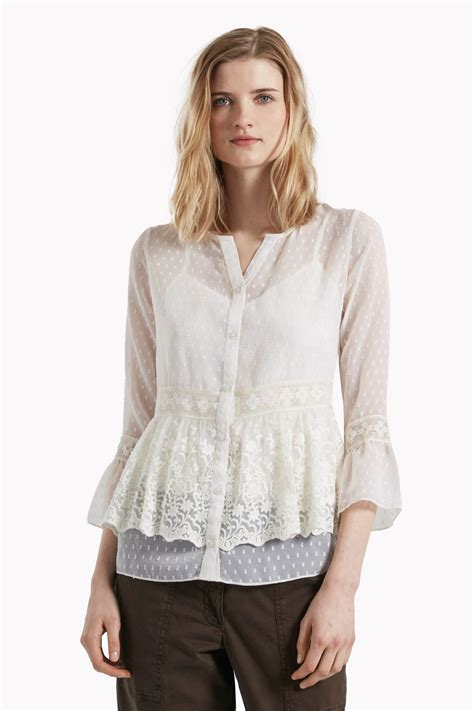Embroided Blouse dobby spot embroidered blouse tops great plains