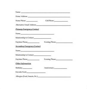 emergency contact form template emergency contact form template vertola