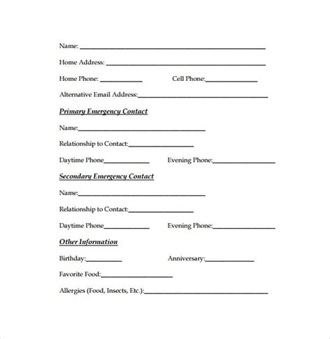 12 Sle Emergency Contact Forms To Download Sle Templates Free Emergency Contact Form Template For Employees