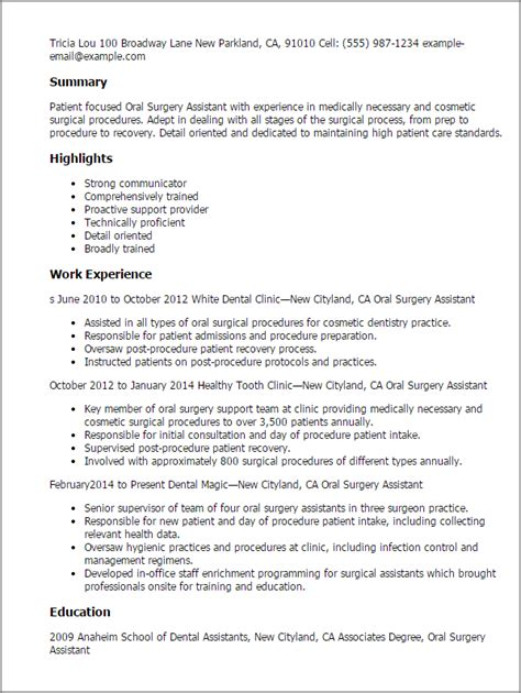 Best Resume Highlights by Professional Oral Surgery Assistant Templates To Showcase