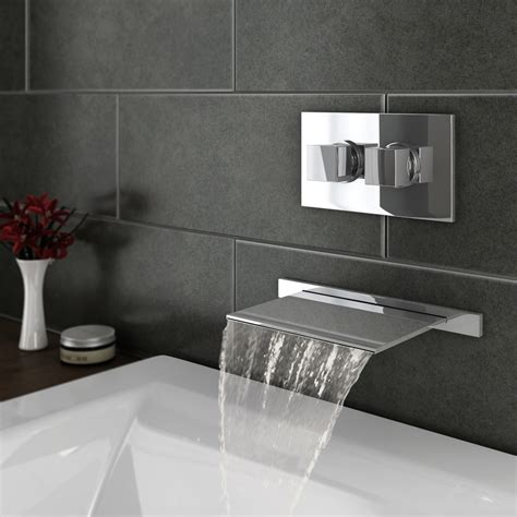 bathtub filler plaza wall mounted waterfall bath filler with concealed thermostatic valve at