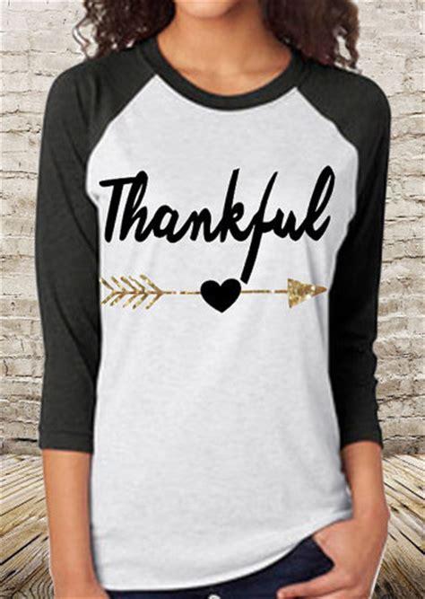 T Shirt Thankful Thankful Letter Arrow Printed Splicing T Shirt Fairyseason