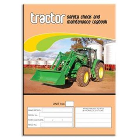 Background Check After Starting Tractor Safety Check Logbook Buy Commercial Logbook Personalised Custom Log