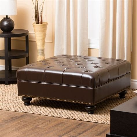 Brown Leather Ottoman Coffee Table Abbyson Living Oreana Leather Coffee Table Brown