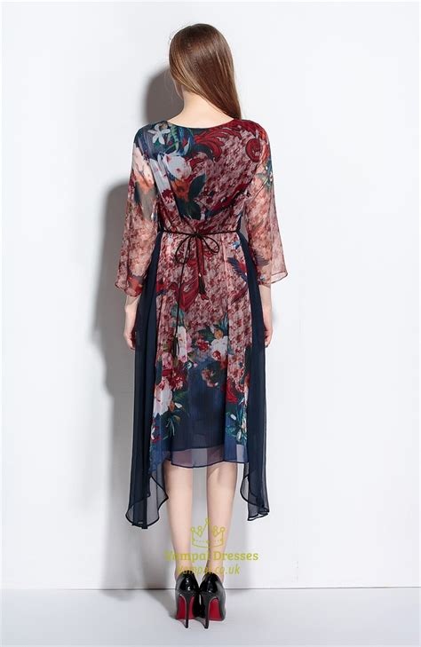 Casual Print casual summer chiffon floral print dresses with flower