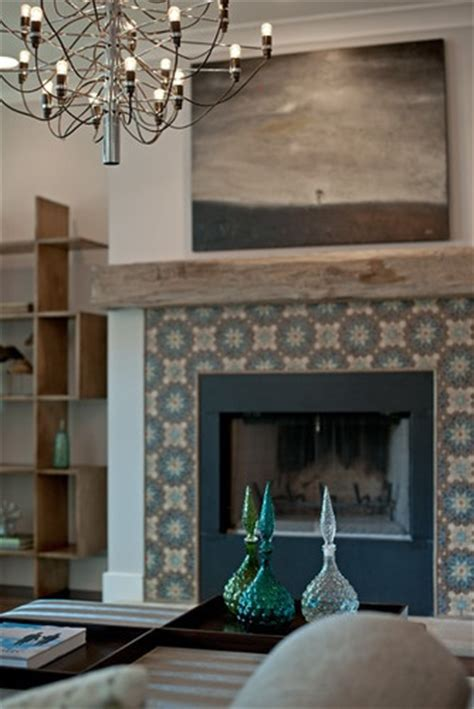 patterned fireplace tiles salvaged wood mantel pattern tile fireplace by