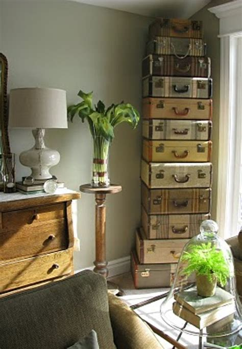 Decorating Ideas Using Suitcases 1 Decorate With Vintage Suitcases Oh My Creative