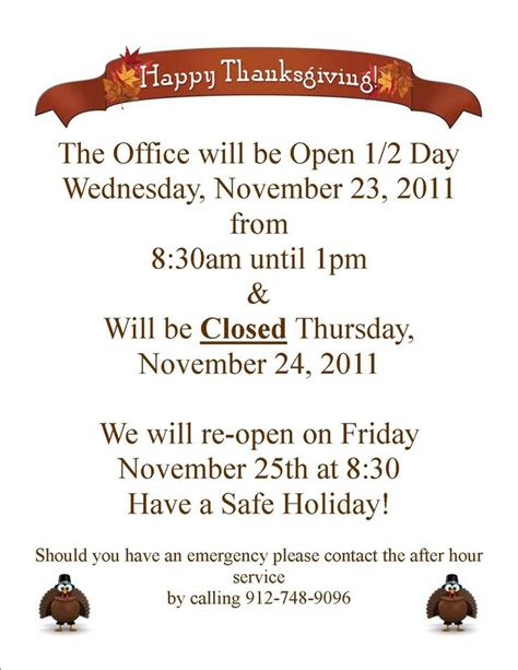 Free Holiday Business Hours Sign Template Lifehacked1st Com Thanksgiving Business Hours Template