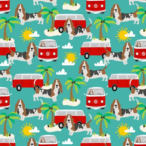 Doggie From Tree Hippyshopper by Basset Hound Fabric Summer Hippie Palm