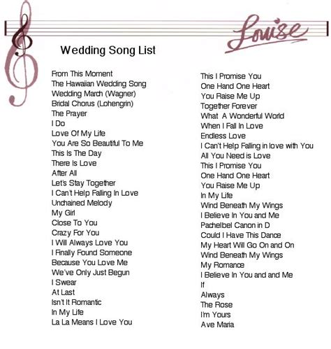 Wedding Song List by Wedding Songs Wedding Ideas Wedding Songs
