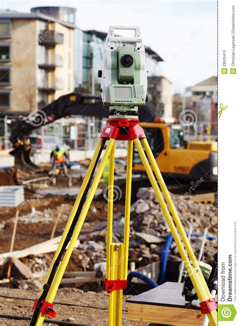 layout building using total station measuring instrument total station equipment stock photos