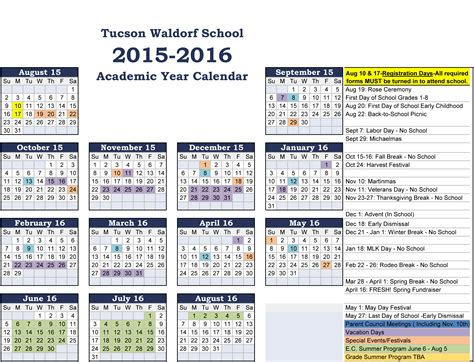 College Academic Calendar Academic Calendar Tucson Waldorf School