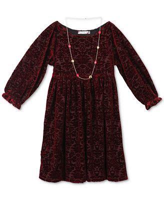heart patterned velvet dress speechless velvet pattern dress with necklace big girls