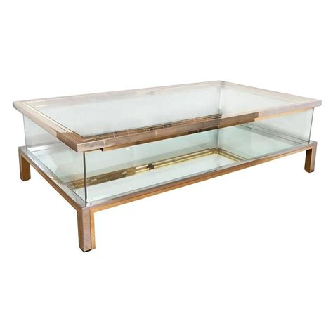 Nickel Coffee Table Rectangular Brass Nickel And Glass Coffee Table For Sale At 1stdibs