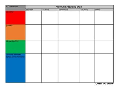 morning meeting planning template by refined teaching tpt