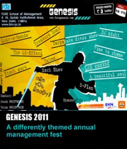 themes for college annual fest genesis 2011 fore school of management new delhi