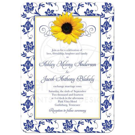 Classic White Kitchen Designs photo wedding invitation sunflower damask royal blue yellow