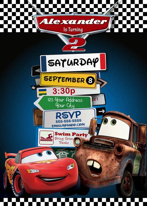 printable disney cars birthday invitations disney pixar cars lightning mcqueen mater birthday invitations pixar cars printable